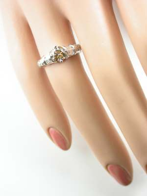 Engagement Ring with Floral and Leaf Design