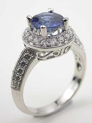 Contemporary Blue Sapphire Engagement Ring