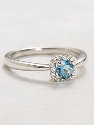 Aquamarine Engagement Ring with Diamond Halo