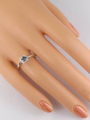 Aquamarine Engagement Ring with Diamond Halo