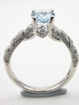 Antique Style Aquamarine Engagement Ring