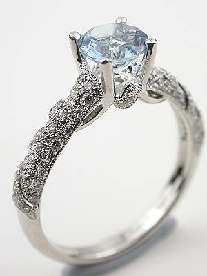 Aquamarine Engagement Ring with Diamond Lace Motif