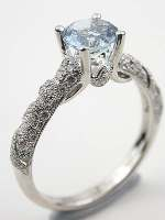 Diamond Lace Aquamarie Engagement Ring