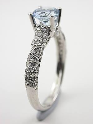 Diamond Lace Aquamarine Engagement Ring