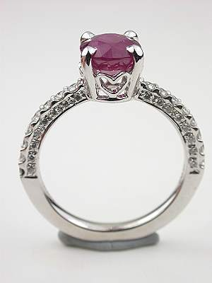 Heart Motif Ruby Engagement Ring