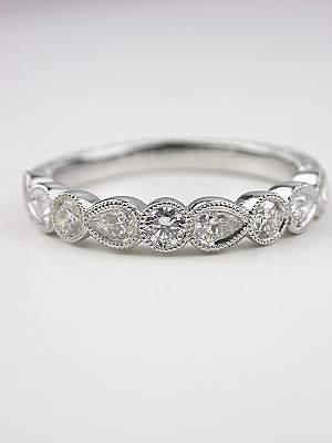 Antique Style Wedding Band with Pear Brilliant Cut Diamonds