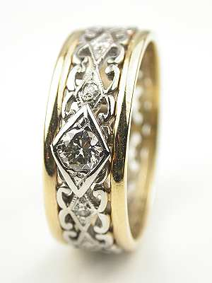 Two Toned Vintage Wedding Ring
