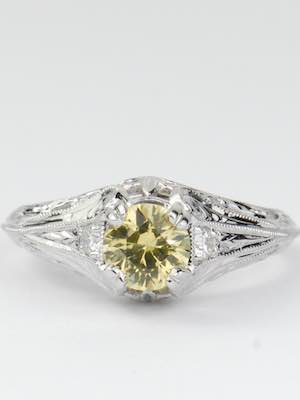 Vintage Style Engagement Ring with Yellow Sapphire