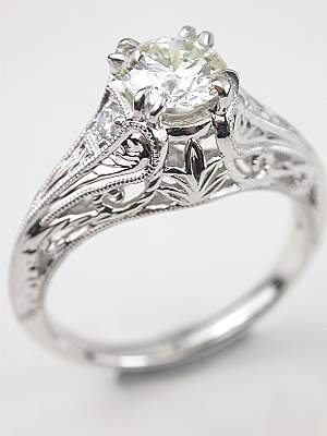 edwardian antique style engagement ring - Wedding Rings Vintage