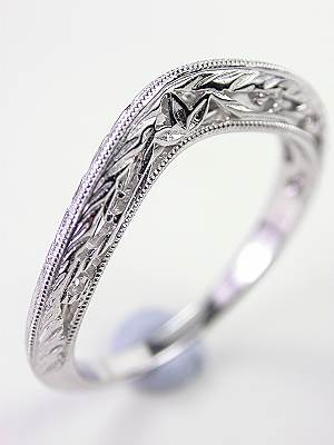 Antique Style Leaf and Scroll Wedding Band