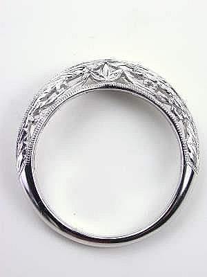 vintage style wedding ring with leaf motif rg 3345wbc - Antique Style Wedding Rings