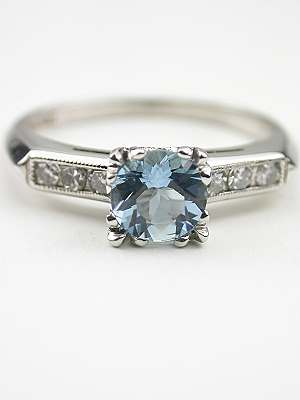 Aquamarine Engagement Ring with Fishtail Setting