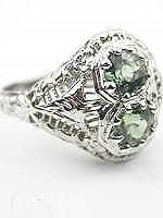 Filigree Antique Cocktail Ring with Green Sapphires