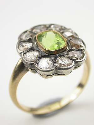 Antique Victorian Peridot and Rose Cut Diamond Ring