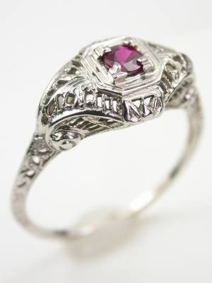 Vintage Ruby Filigree Engagement Ring