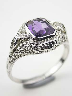 Antique Cushion Cut Amethyst Filigree Cocktail Ring