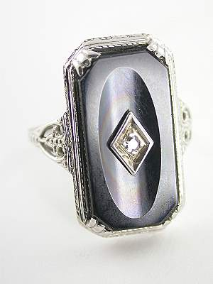 Antique Filigree and Onyx Dinner Ring