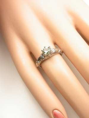 Antique Style Green Sapphire Floral Engagement Ring
