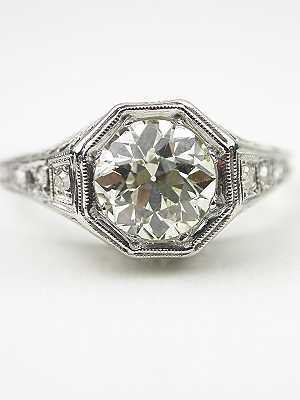 Pierced Filigree Antique Engagement Ring