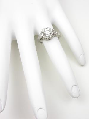 Pierced Filigree Antique Engagement Ring