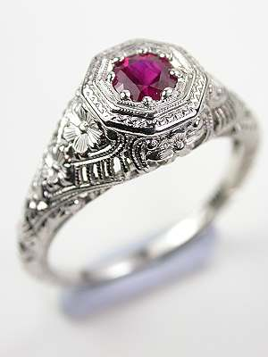 Antique Ruby Ring with Floral and Filigree
