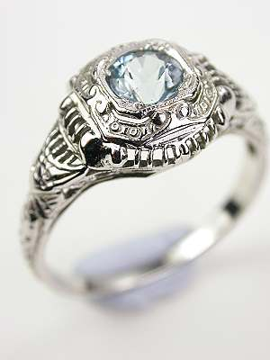 Antique Aquamarine Filigree Ring