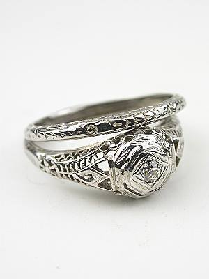 Antique Engagement and Wedding Ring