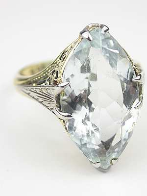 Antique Edwardian Aquamarine Cocktail Ring