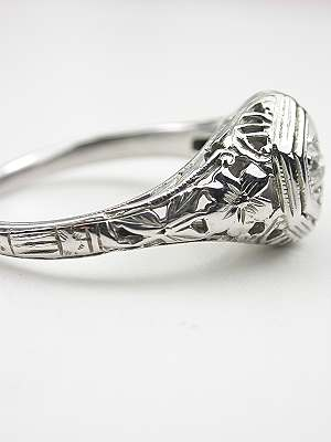 Floral and Filigree Antique Engagement Ring