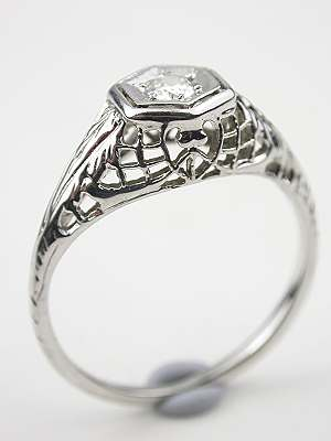 Filigree and Diamond Antique Engagement Ring