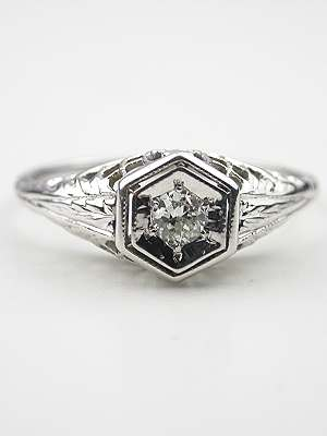 Filigree and Diamond Engagement Ring