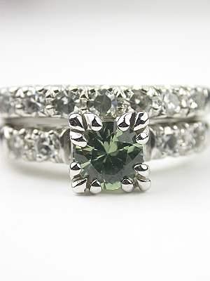 Green Sapphire Vintage Bridal Rings