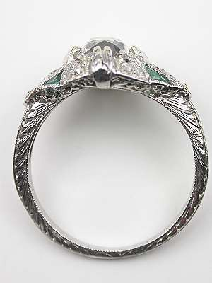 Antique Engagement Ring with Emerald Accents