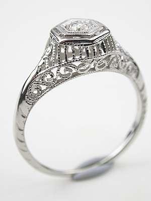 Vintage Diamond Filigree Ring