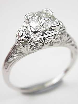 Vintage Filigree Diamond Engagement Ring