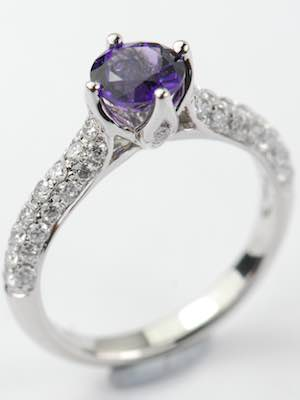 Vintage Style Amethyst Engagement Ring