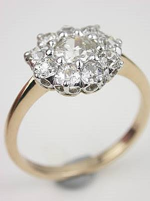 Old Mine Cut Diamond Antique Engagement Ring