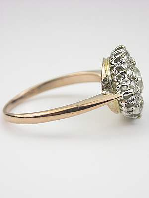 Old European Cut Diamond Ring with Cluster Design