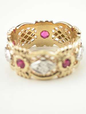 Vintage Wedding Ring with Rubies