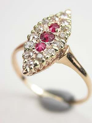 Victorian Ruby and Diamond Cocktail Ring