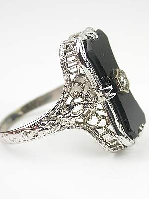 Filigree and Onyx Antique Cocktail Ring