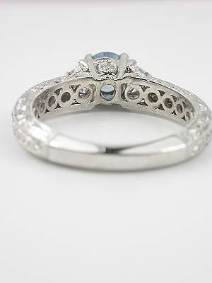 Antique Style Engagement Ring with Aquamarine