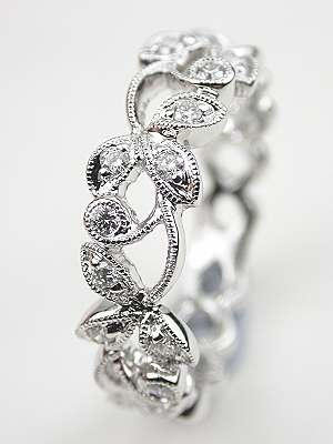 Diamond Wedding Ring with Vine and Leaf Motif