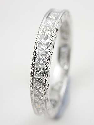 Princess Cut Diamond Eternity Band with Leaf Motif