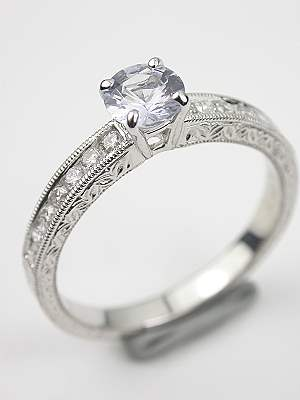 Antique Style White Sapphire Engagement Ring