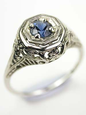Edwardian Antique Sapphire Engagement Ring Rg 3485