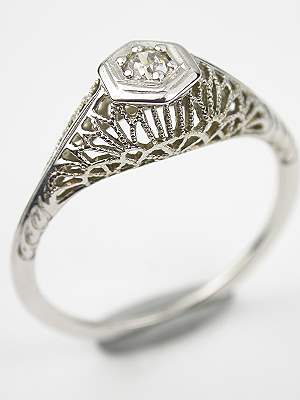 Filigree Antique Engagement Ring