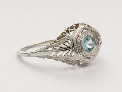 Edwardian Aquamarine Antique Engagement Ring