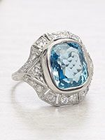 Art Deco Antique Aquamarine Ring