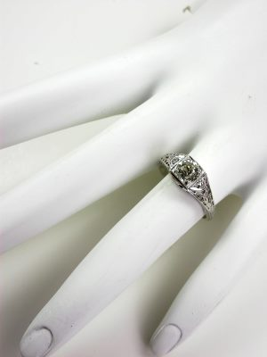 "Vintage Engagement Ring with  ""XO"" Motif"